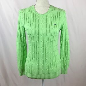 Vineyard Vines Green Cable Knit Pullover Sweater